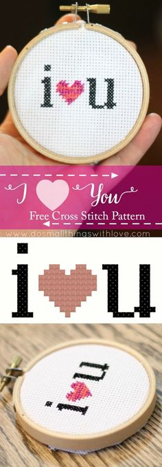 I heart you free cross stitch pattern for Valentines Day!  Click through to get the pattern now!
