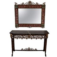 Oscar Bach Art Deco Bronze and Iron Console Table and Mirror ...