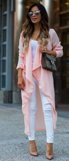 #summer #trending #style |  Pink Waterfall Duster + White