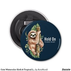 Cute Watercolor Sloth & Tropical Leaves Bottle Opener Candy Jars, Tropical Leaves, Diy Face Mask, Sloth, Gifts For Dad, Art Pieces, Creatures, Bottle Openers, Fancy