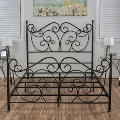 Lorelei Metal Bed Frame by Christopher Knight Home (Queen), Brown Wrought Iron Beds, Wrought Iron Decor, Iron Furniture, Home Furniture, Furniture Dolly, Black Furniture, Furniture Outlet, Discount Furniture, Modern Furniture