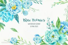Peony Clip Art, Watercolor blue peony clipart, blue peonies, decorative elements, floral arrangements for instant download by CornerCroft on Etsy