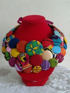 Nael African Print/Ankara Statement Necklace by Nopoku on Etsy, $50.00