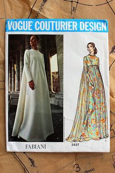 Vintage Vogue 2537 Sewing Pattern Vogue Couturier Design Fabiani Gown 34 Bust Mod Maxi Wedding D~ Vintage VOGUE Couturier Design Pattern 2537 Fabiani Evening Dress size 14 FF- hmm gotta find my size in thisItems similar to Vogue 2537 Pattern, FABIANI, SZ Vintage Outfits, Vintage Dresses, Vintage Fashion, Evening Dress Patterns, Vintage Dress Patterns, Queer Fashion, Mode Vintage, Vintage 70s, Vogue Sewing Patterns