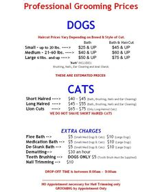 dog grooming price list - Yahoo Image Search Results