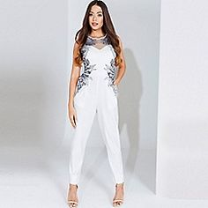 Little Mistress - Cream embroidered panel jumpsuit