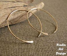 Gold Open Hoops. Elegant Hammered Hoop Earrings for Women | fashion-earrings - Jewelry on ArtFire