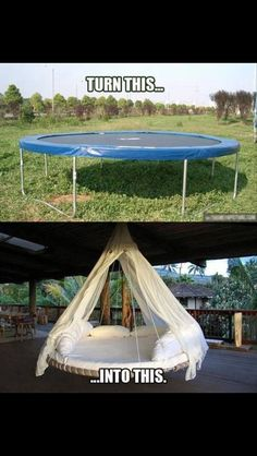 Trampoline into a hanging chair. Now where can I hang this???