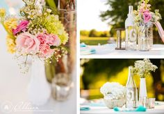 Beautiful Texas Winery Wedding - Outdoor Wedding Reception Centerpieces with spring colors  Laura & Bryan Wedding Lost Oak Winery By Allison Davis Photography