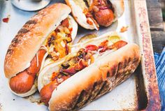 Giddy Up! Try This Cowboy Hot Dogs Recipe | Food Republic- Onion, bacon, cheddar, barbecue sauce and more.