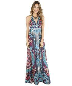 Vestido Longo Adriana Barra Arabescos Azul Claro - cea