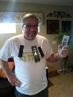 Mens TV Shirt, never lose or misplace a remote control again! Great gift this Holiday Season! Also, great GAG gift for those men who always misplace their remotes! Silly Gifts, Gag Gifts, White Elephant Christmas, White Trash Party, Tv Remote Controls, Santa Gifts, Me Tv, Country Christmas, Country Chic