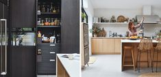 Eclectic kitchen mixing wood and black | EKBB