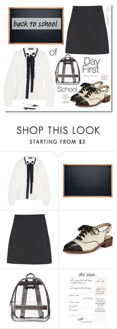 """""""Campus chic: First Day Of School"""" by faten-m-h ❤ liked on Polyvore featuring Markus Lupfer, French Connection, Sam Edelman, Betsey Johnson and BackToSchool"""