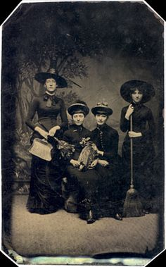 Tintype Witches (almost), 1875 | The dead bird is to show that the middle two women are from a wealthly family. The women on the end, with the broom and dustpan, are their servants (comment section)
