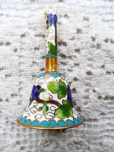 Vintage Mini - Miniature Highly Decorative Brass Bell- Embellished with Vivid Enameling- High Impact Design- Tiny Collector's Bell- Neat!