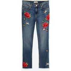 CROPPED EMBROIDERED JEANS - View all-JEANS-WOMAN | ZARA United States ($70) ❤ liked on Polyvore featuring jeans, pants, bottoms, spodnie, zara, embroidered jeans, embroidery jeans, cropped jeans and blue jeans