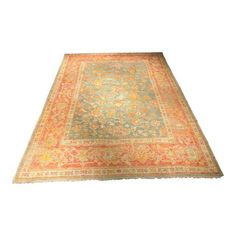 Image of Circa 1900s Antique Restored Turkish Oushak Rug - 9' x 12'8""