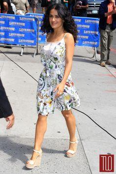 Salma Hayek - easy, breezy summer dress + wedges