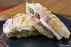 Prosciutto, Pesto & Fresh Mozzarella Panini...inspired by Susan Russo's new Encyclopedia of Sandwiches *I read that you can substitute thinly sliced ham for the prosciutto
