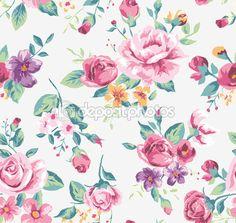 Vintage tropischen Blumen Muster Vektor