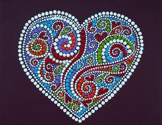Heart Mandala. painted by Melinda Tamas, dot painting, acrylic, canvas 20x20 cm