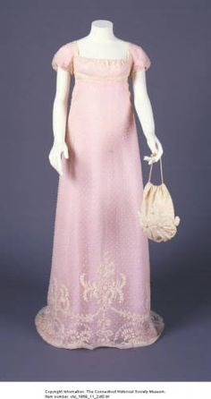 Dress owned by Charlotte Perkins. :: Connecticut History Online [ book inspiration: color, the fabric might be too delicate, empire line (is there piping under the gather?), cap sleeve, simple neck, design at the hem on the over fabric (?), could that be a stencil for the cover or would that look cheesy (?)]