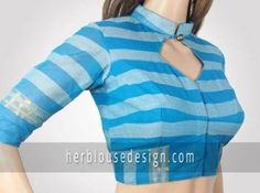 Front neck collar with button simple blouse design for individual look Blouse Back Neck Designs, Simple Blouse Designs, Stylish Blouse Design, Fancy Blouse Designs, Dress Designs, Collar Blouse, Neck Collar, Designer Blouse Patterns, Blouse Models