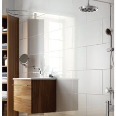 Large tile - exmoor high gloss large white bathroom and kitchen ceramic wall tile Large White Tiles, White Brick Tiles, White Wall Tiles, White Bathroom Tiles, Small Bathroom, White Walls, Bath Tiles, Shower Tiles, New Bathroom Ideas