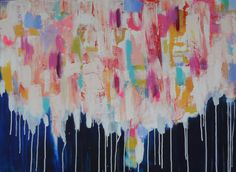 "30 X 40 Large Original Abstract Art Colorful Contemporary Navy Blue Drips White Pink Yellow Bright Bold Textured Palette Knife ""CASH COW"" on Etsy, $300.00"
