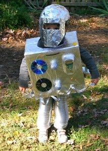 DIY homemade green Halloween robot costume aluminum foil cardboard box