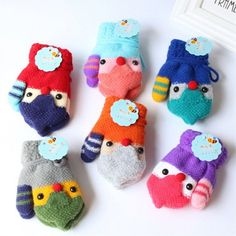 Cute Children Magic Printing Gloves Mittens Girl Boy Kid Stretchy Knitted Winter Warm Knit Gloves
