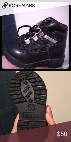 Toddler Timberland Field Boots Timberland black smooth leather field boot. Rounded toe with logo patch. Timberland Shoes Boots