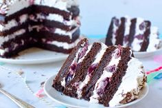Black Forest Cake -- A festive, quadruple-layer chocolate cake stuffed with cherries and cream. Baking Recipes, Cake Recipes, Dessert Recipes, Dinner Recipes, Sour Cherry Pie, Cupcake Cakes, Cupcakes, Canning Cherry Pie Filling, Traditional Cakes