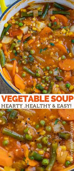 Vegetable soup is hearty and savory full of nourishing veggies like tomatoes corn green beans celery and potatoes ready in under 45 minutes! easy healthy lowcarb soup stew vegetarian simple dinnerthendessert easy vegetable lasagna with alfredo sauce Vegetable Soup Healthy, Vegetable Soup Recipes, Healthy Vegetables, Simple Soup Recipes, Simple Vegetarian Recipes, Easy Veggie Soup, Vegetable Crockpot Recipes, Healthy Food, Veggie Dinners
