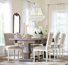 A farmhouse table that can be dressed up or down. HomeDecorators.com