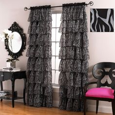 Gypsy Zebra Print Voile Ruffled Curtain Panels