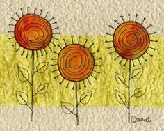 """Baumcat: September 2009 """"Friends are the flowers in the garden of life. Freehand Machine Embroidery, Free Motion Embroidery, Free Motion Quilting, Fabric Postcards, Fabric Cards, Small Quilts, Mini Quilts, Quilting Projects, Quilting Designs"""