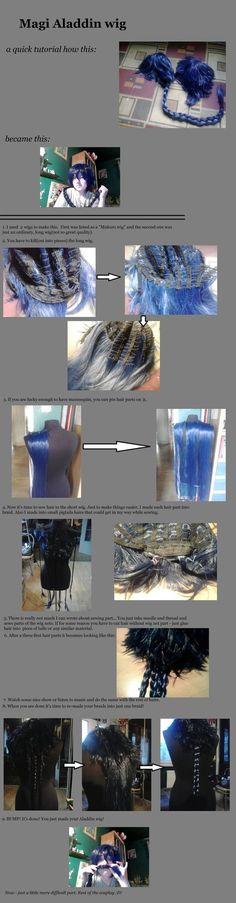 Aladdin (or any other braided) wig tutorial! by Rai91