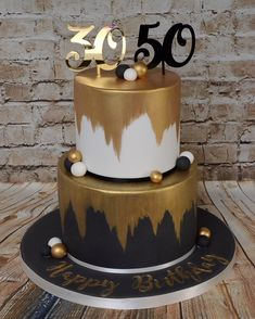 Metallic edible gold adds a stylish effect to this celebration cake which was a chocoholics dream inside! Moist chocolate cake with chocolate buttercream and belgian chocolate ganache. Black And Gold Birthday Cake, 60th Birthday Cake For Men, Black And Gold Cake, 40th Cake, Adult Birthday Cakes, Wife Birthday, Birthday Gifts, Happy Birthday, Birthday Wishes