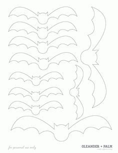 Free template - cut out bats to make a feature wall of bats in flight.