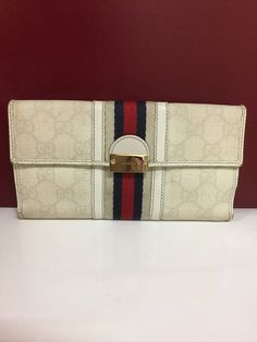 7e01432b9f779b Authentic Gucci Signature Red Stripe Trifold Wallet. Vintage Gucci, Vintage  Bags ...