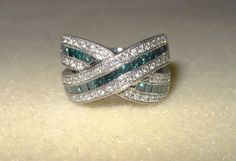 Vintage Blue and white diamond by CreationsbyMaryEllen on Etsy, $698.97