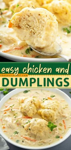 Learn all the tips and tricks on how to make Chicken and Dumplings from scratch! Loaded with homemade dumplings in a creamy soup, this chicken recipe for dinner is the ultimate comfort food in the… Easy Pasta Recipes, Best Chicken Recipes, Crockpot Recipes, Soup Recipes, Winter Dinner Recipes, Easy Dinner Recipes, Dinner Ideas, Homemade Chicken And Dumplings, Cozy Meals