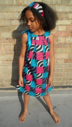 Girls African print pillowcase dress