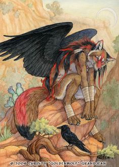 Desert Perch by Goldenwolf | Commission for KaHaTeNi Coyote of her character/fursona. Watercolor and Colored Pencil on 9 X 12 Bristol paper.