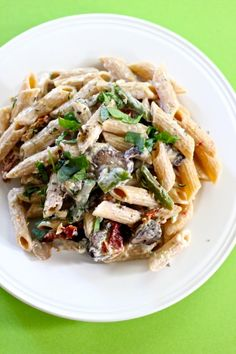 Eat Good 4 Life » Penne with mushrooms, sun dried tomatoes and asparagus