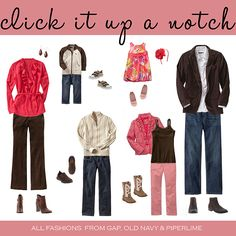 What to wear for family photos- I always suggest 3 colors-- any combinations of the 3 colors so everyone coordinates but not all matchy matchy