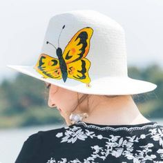 0990267909a87 Hand Painted butterfly panama hat for women summer white straw hat for sun  protection