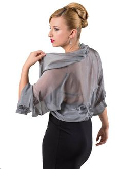 Silver Grey Silk Chiffon Bolero Jacket for Evening Dress (M-L) Silk Chiffon, Kaftan, Bolero Jacket, Modest Fashion, Evening Dresses, Jackets For Women, Couture, Maxis, Party Crop Tops